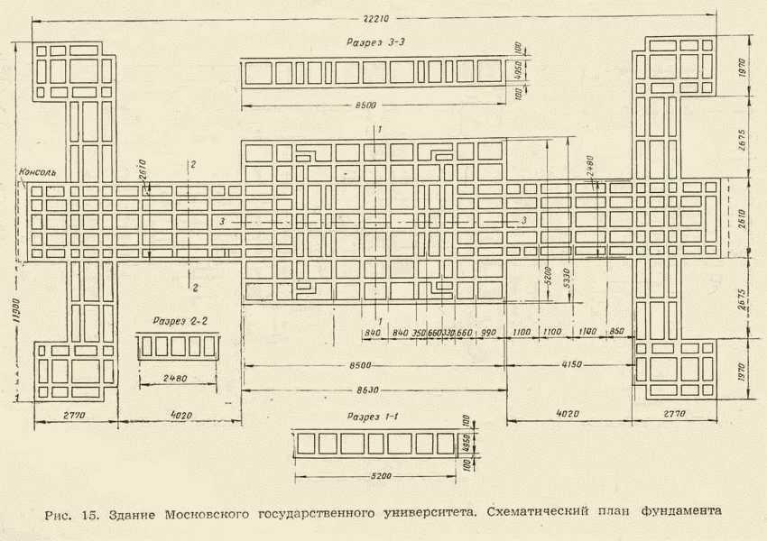 схема фундамента МГУ (62